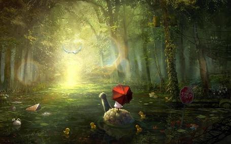 Фото Девочка с зонтом на панцире черепахи, art by tahra