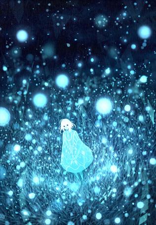 Фото Девушка стоит в траве в окружении светлячков, art by bounin