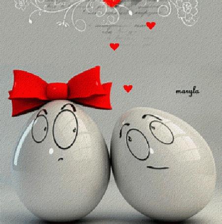 Фото Яйцо-девочка с бантом и яйцо-мальчик с сердечками, ву maryla