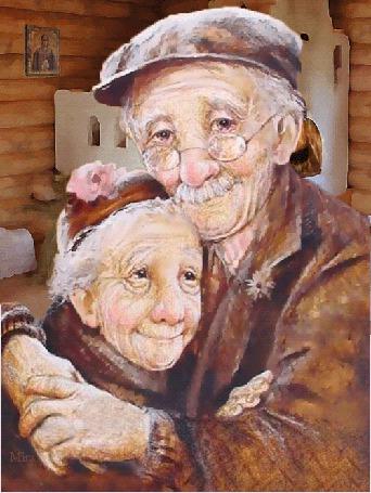 Фото Трогательно обнявшаяся пожилая пара