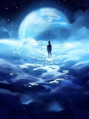 Фото Фигура человека, идущего по облакам навстречу луне, аrt by longestdistance
