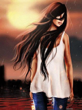 Фото Девушка с развевающимися волосами стоит у море под дождем, на заднем плане огни города, небо и солнце