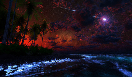 Фото Светящийся метеорит падает с неба на ночную землю