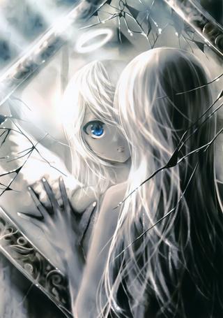 Фото Девушка синими глазами, отражается как ангел в разбитом зеркале, с ореолом над головой, art by kei