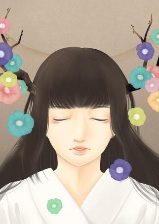 Фото Темноволосая девушка восточной наружности, с закрытыми глазами, с ветками растущими из головы, на которых растут цветы, art by ワ子