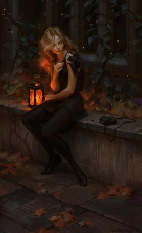 Фото Светловолосая девушка в черной одежде кормит летучую мышь, сидящую у нее на плече, сидя рядом с горящим фонарем у поросшей плющом ограды осенней ночью, art by Lane Brown