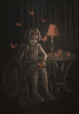 Фото Девочка в инвалидной коляске шьет бабочек, которые потом оживают, art by DolceCaramella