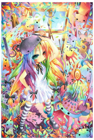 Фото Девушка манга, художница с разноцветными волосами, с разноцветными животными, by emperpep