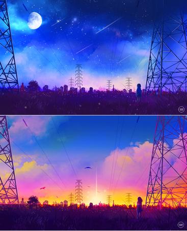 Фото Серия картинок, где девочка стоит на фоне заката и на фоне ночного неба