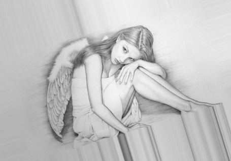 Фото Грустная девушка - ангел