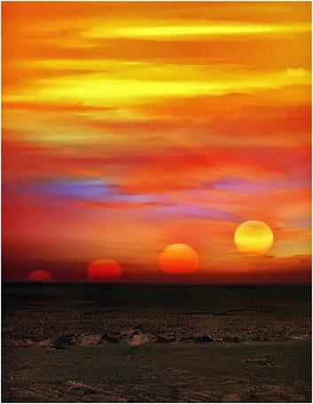 Фото Парад планет на оранжевом небе (© Akela), добавлено: 29.10.2014 22:55