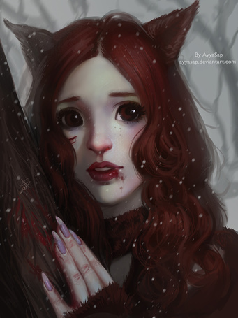 Фото Девушка с ушками под падающим снегом, art by ayyasap