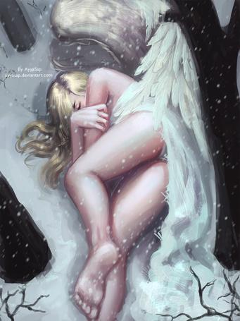 Фото Девушка-ангел лежит на снегу, art by ayyasap