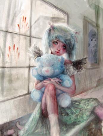 Фото Девочка-ангел с плюшевым медведем сидит на подоконнике
