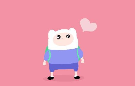 Фото Финн / Finn из мультсериала Adventure Time / Время Приключений смотрит на сердечко