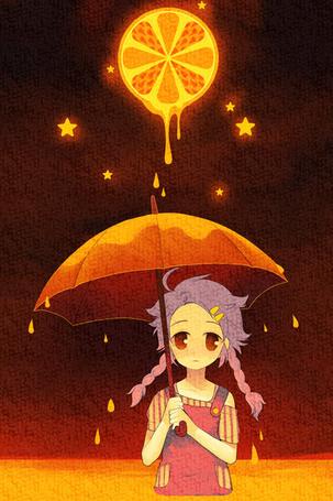 Фото Девочка держит в руках зонт на который капает сок лимона, автор gimei