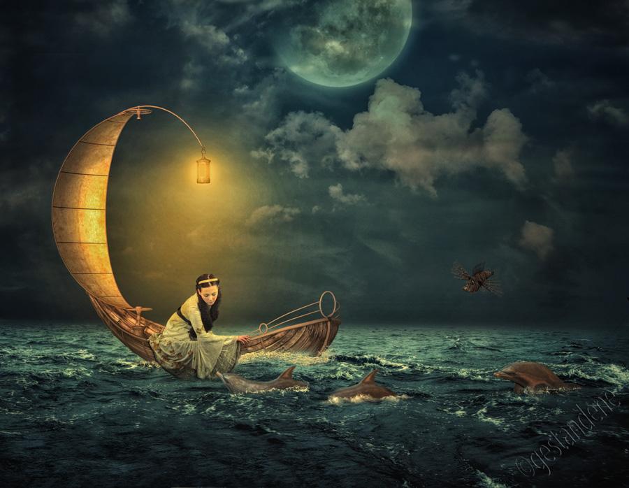 Картинка с надписью я босой в лодке колыхался над волнами