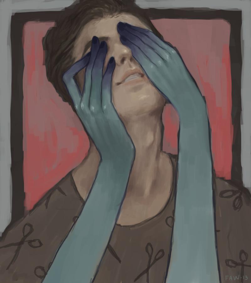 Картинка человека закрывающего глаза рукой
