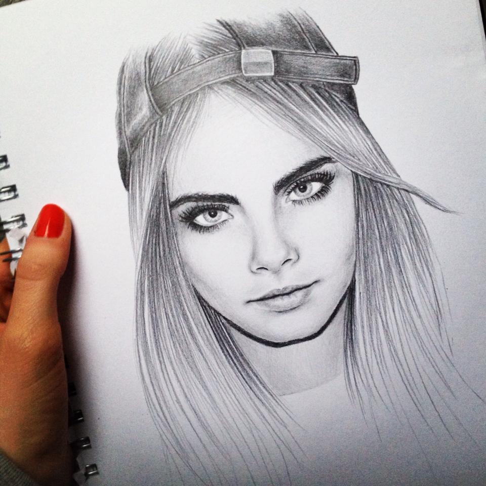Кара делевинь рисунки карандашом