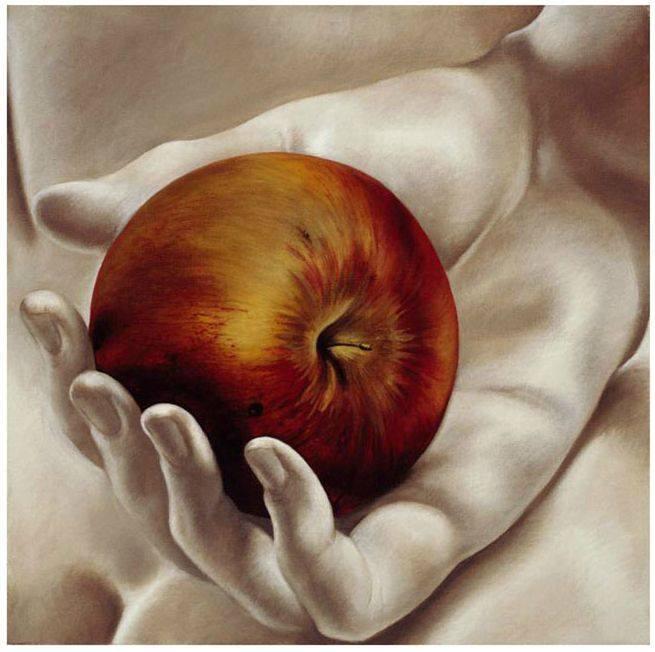 картина яблоко на руке холст фото второе значимости городское