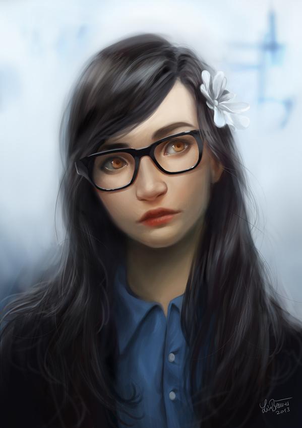 Картинки девушек в очках арт