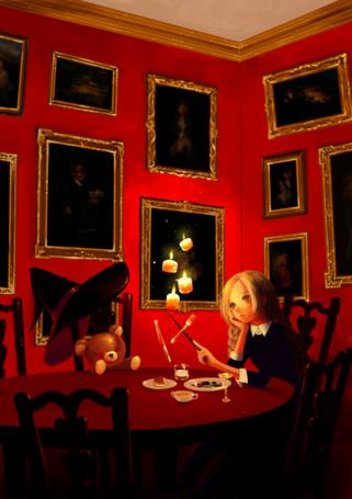 Фото Девушка колдует, сидя за столом, art by konno mayumi