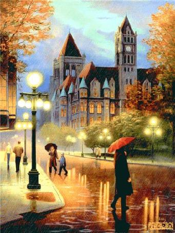 Фото Надоедливый осенний дождь стучит по мостовым старого города, в небе стайки улетающих в теплые края птиц, Mira