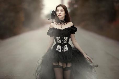 Фото Девушка с вороной на плече и с кровью у рта идет в черном платье по дороге, by Freyja90