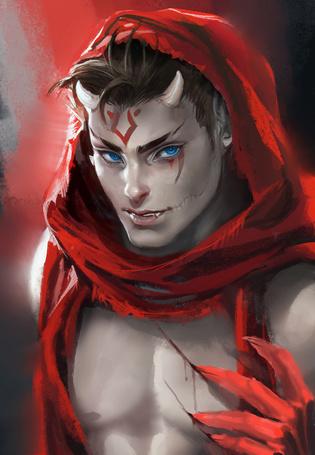 Фото Парень - демон в красном капюшоне