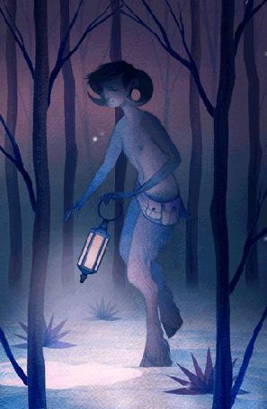 Фото Фавн с фонарем идет по лесу