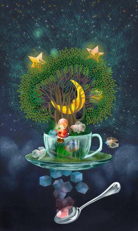 Фото Девочка сидит на чашке, из которой растет дерево, в ветвях которого месяц, а в листьях звезды, рядом плавают рыбки