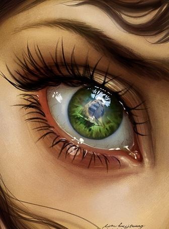 Фото Парусник изображен в глазу девушки со стекающей слезой, by Zolaida