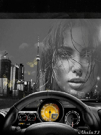 Фото Девушка с моргающими глазами на фоне лобового стекла движущегося по дороге автомобиля, выше панели и руля управления, вокруг девушки летают желтые бабочки, автор Akela 73