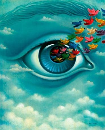 Фото Из глаза девушки вылетают птицы