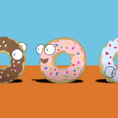 Фото Рисованные пончики в разноцветной глазури с глазами, движущиеся по кругу, на цветном фоне