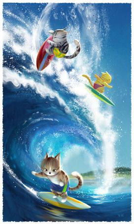 Фото Котята-серфингисты на высокой волне