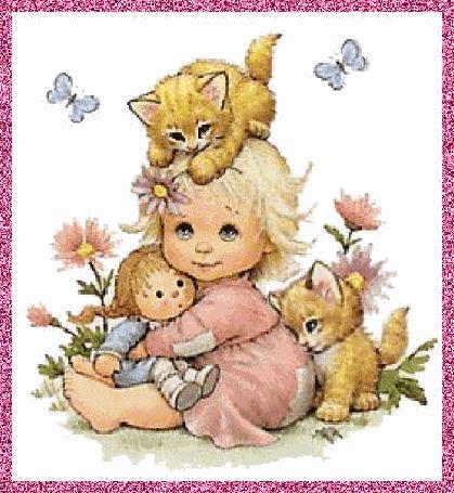 Фото Маленькая девочка держит на коленях куклу, на голове у нее рыженький котенок с цветком в лапке, сзади рыжий котенок лижет себе лапку, над ними кружатся бабочки