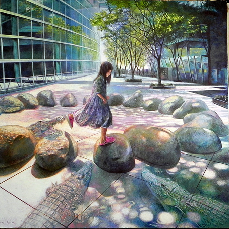 Фото Девочка прыгает с камня на камень
