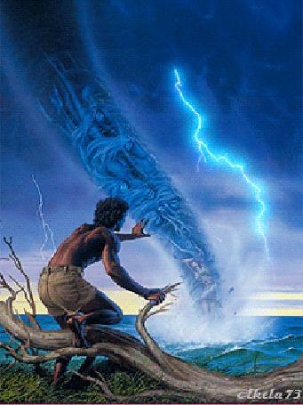 Фото Мужчина Повелитель стихий, обнаженный до пояса, стоя одним коленом на сухом поваленном дереве, вытянул вперед руку укрощая стихию смерча и молнии над разбушевавшимся морем, автор Akela 73