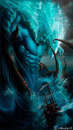 Фото Посейдон c мускулистым телом и волосами в виде морских волн рассерчал и топит волнами парусный корабль, автор Akela 73