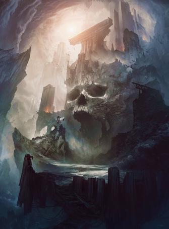 Фото Здание на скале в виде черепа