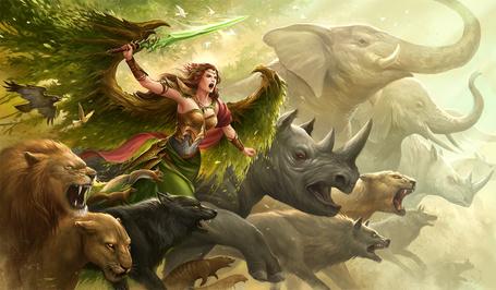 Фото Девушка - воин с мечом в окружении разных животных, by sandara