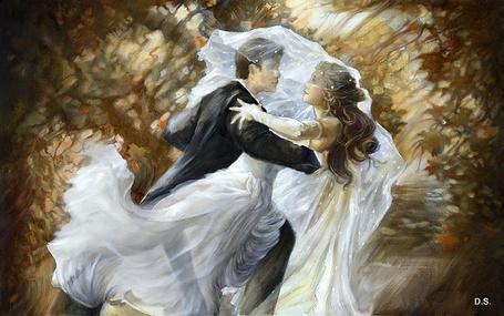 Фото Вальс молодых, жениха и невесты в подвенечном белом платье на фоне абстракции, художник Лена Сотскова / LENA SOTSKOVA /