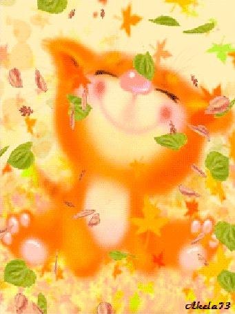 Фото Маленький тигренок радуется осеннему листопаду. автор Akela 73