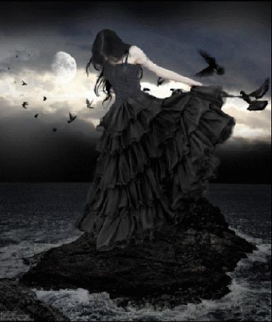 Фото Девушка стоит на камне в окружении воды и птиц