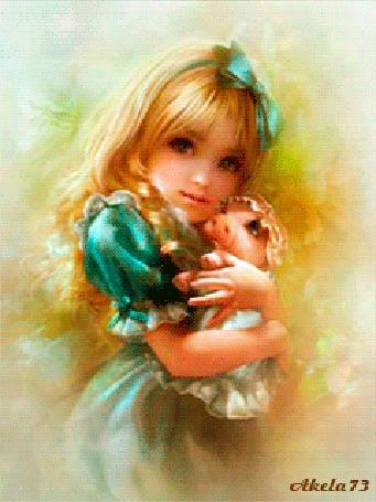 Фото Девочка с белыми волосами, синим бантом на голове нежно прижимает к себе испуганного маленького поросенка, одетого в платьице, чепчик и трясущего от страха пятачком, автор Akela 73