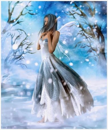 Фото Девушка эльф идет в метель босиком по снегу