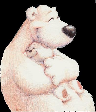 Фото Обнимающая своего медвежонка белая медведица, при этом оба улыбающиеся и зажмуривающие глаза