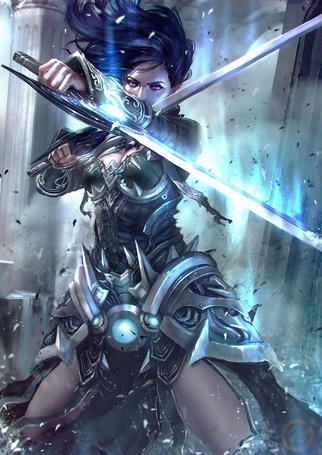 Фото Девушка с мечами в руках