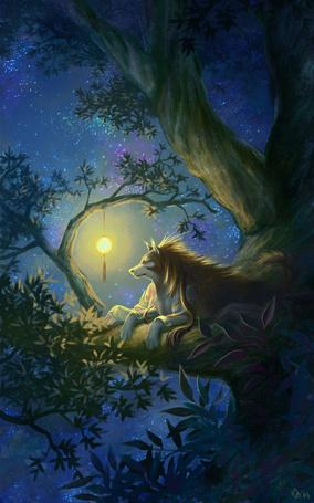 Фото Волк лежит на дереве, охраняя сон маленькой девочки